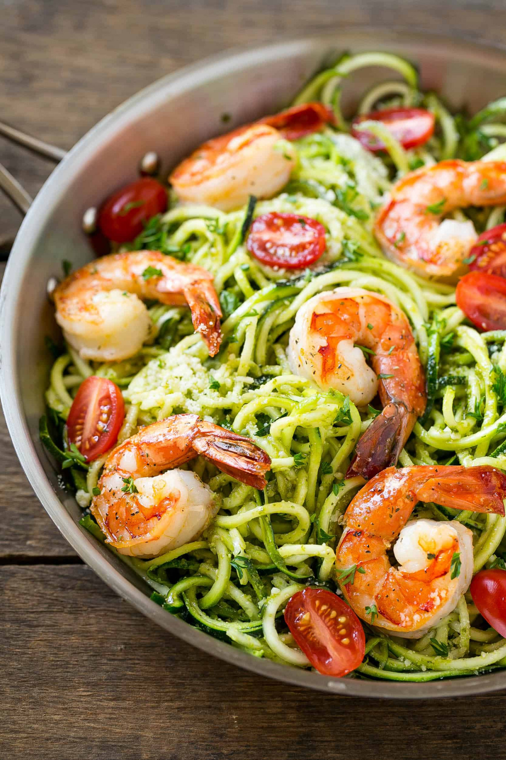 Low Carb Pesto Shrimp Zoodles | Healthy Fitness Meals - healthy zoodle recipes