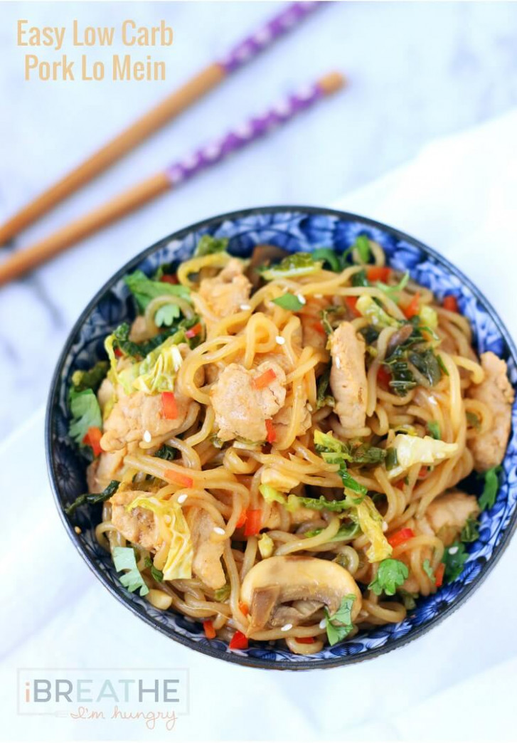 Low Carb Pork Lo Mein Recipe | I Breathe I'm Hungry - Keto Chinese Food Recipes