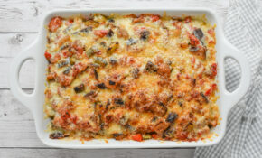 Low-FODMAP Ratatouille Garlic Bread Casserole, Gluten-free