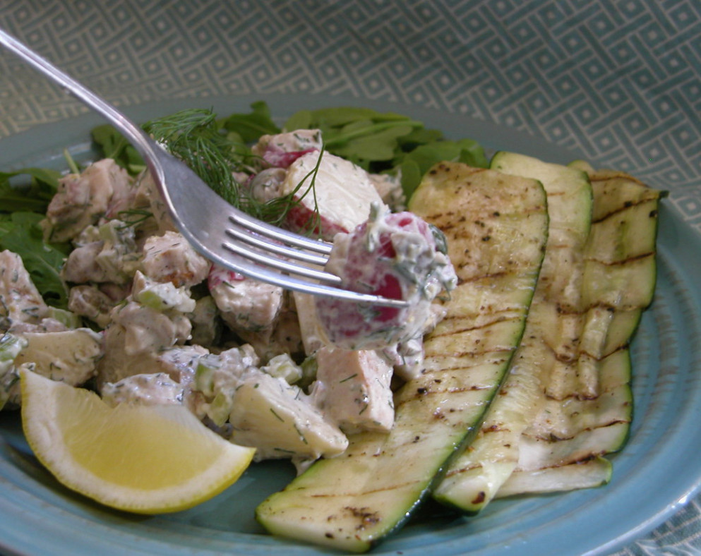 lunch happiness, september 12 2008: grilled lemon chicken salad with new potatoes - chicken recipes bon appetit