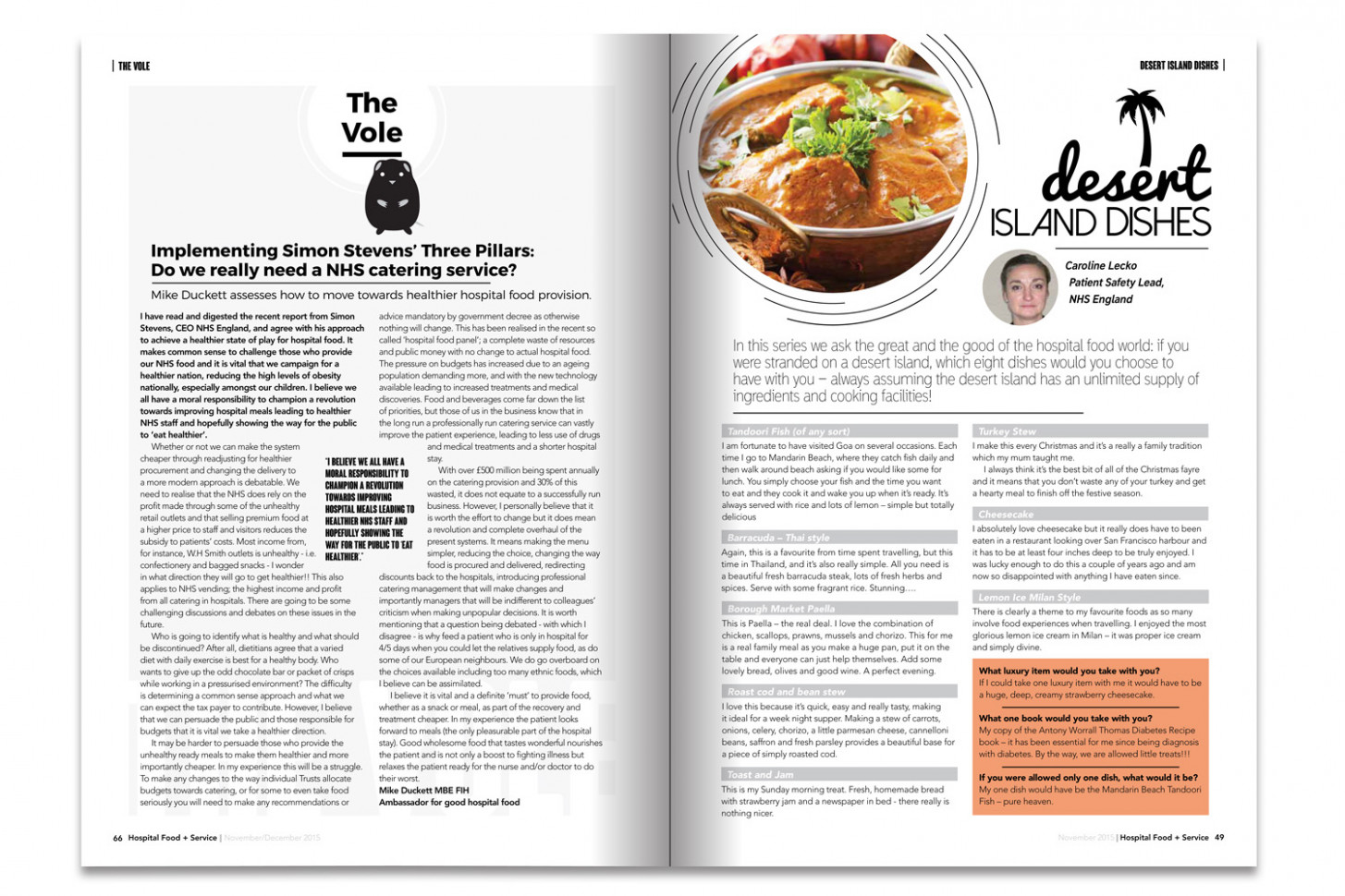 Magazines & Brochures — Robbie Macdonald - recipes hospital food