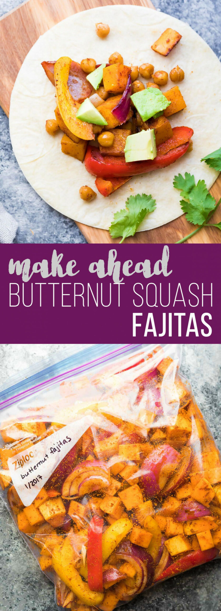 Make Ahead Chickpea Butternut Squash Fajitas - make ahead dinner recipes for company