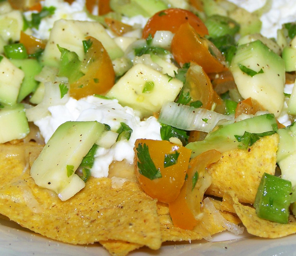 Making Nachos - yellow tomato & avocado salsa - nachos recipes vegetarian
