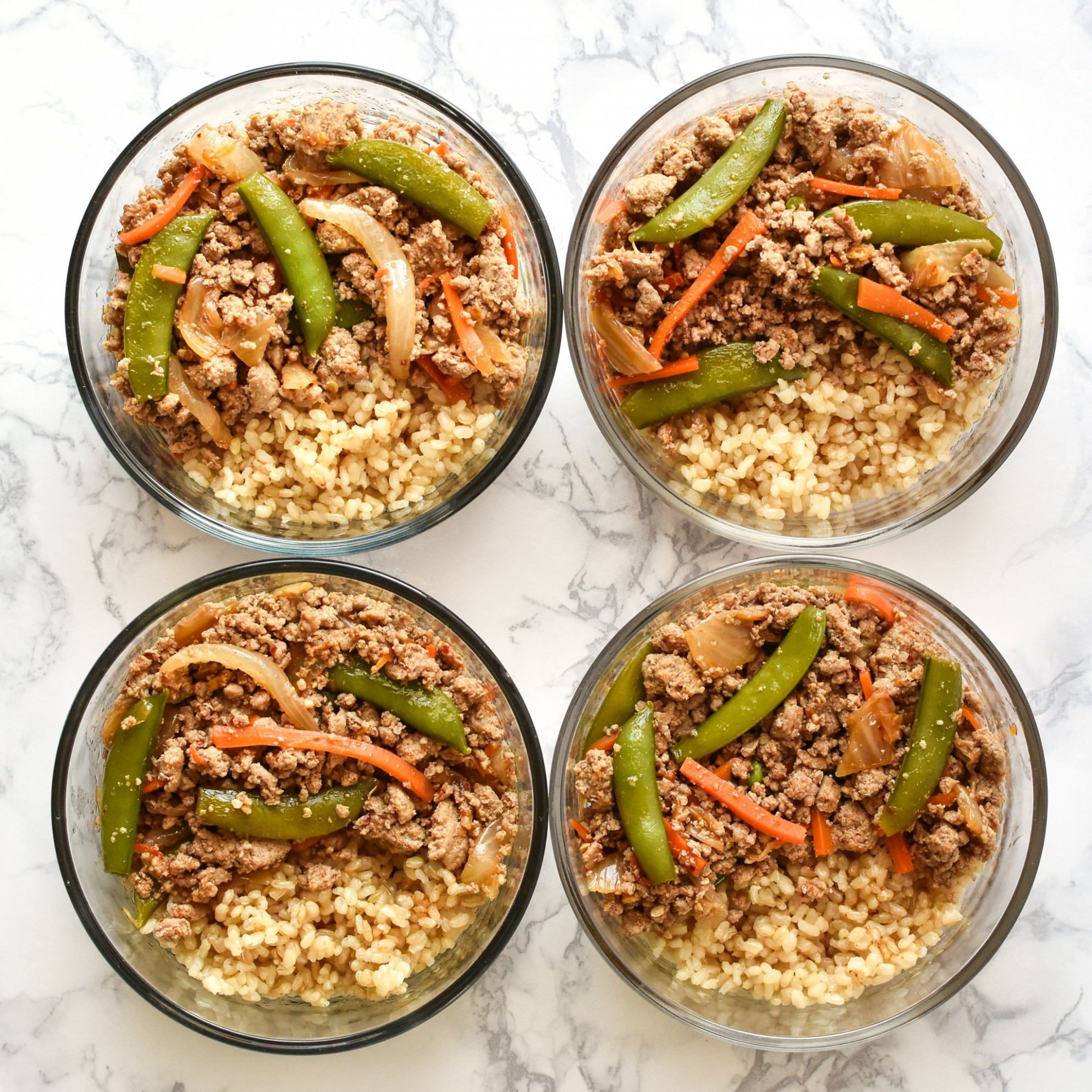 Meal Prep Ground Turkey Snap Pea Stir Fry Rice Bowls ..