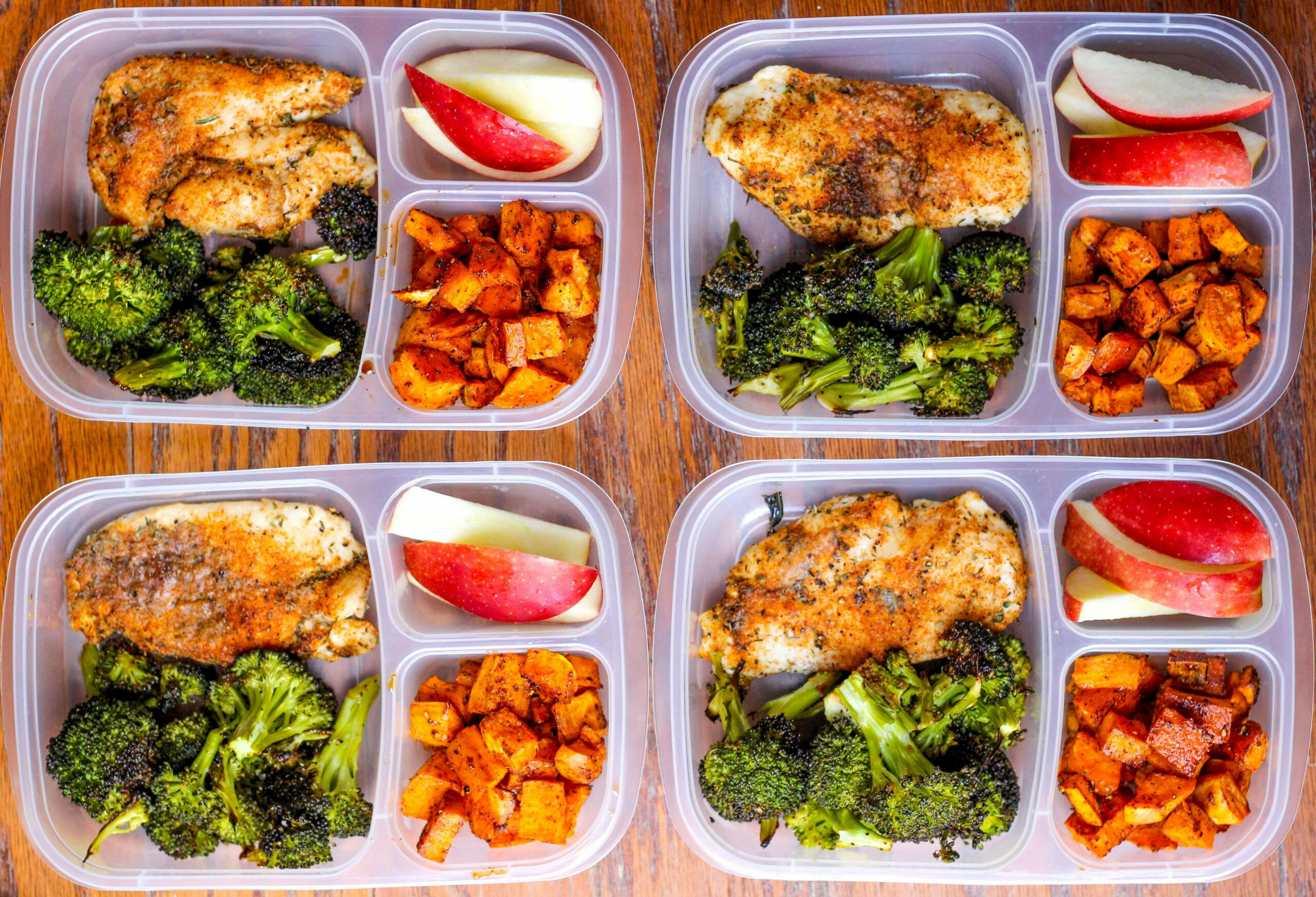 Meal Prep Lunch Bowls With Spicy Chicken, Roasted Lemon Broccoli, And  Caramelized Sweet Potatoes - Chicken Recipes Lunch