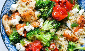 Mediterranean Chicken Quinoa Bowl with Broccoli and Tomato
