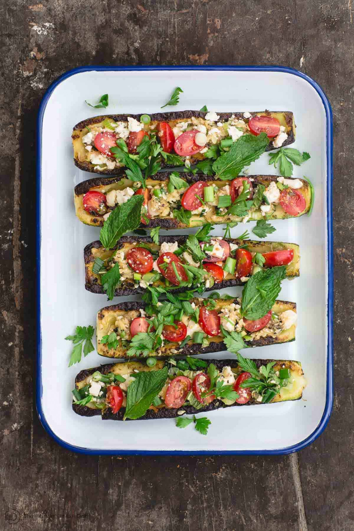 Mediterranean Grilled Zucchini Boats - vegetarian recipes zucchini tomatoes