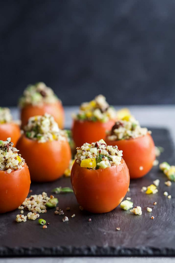 Mediterranean Quinoa Stuffed Tomatoes | Easy Healthy Recipes - chicken recipes bon appetit