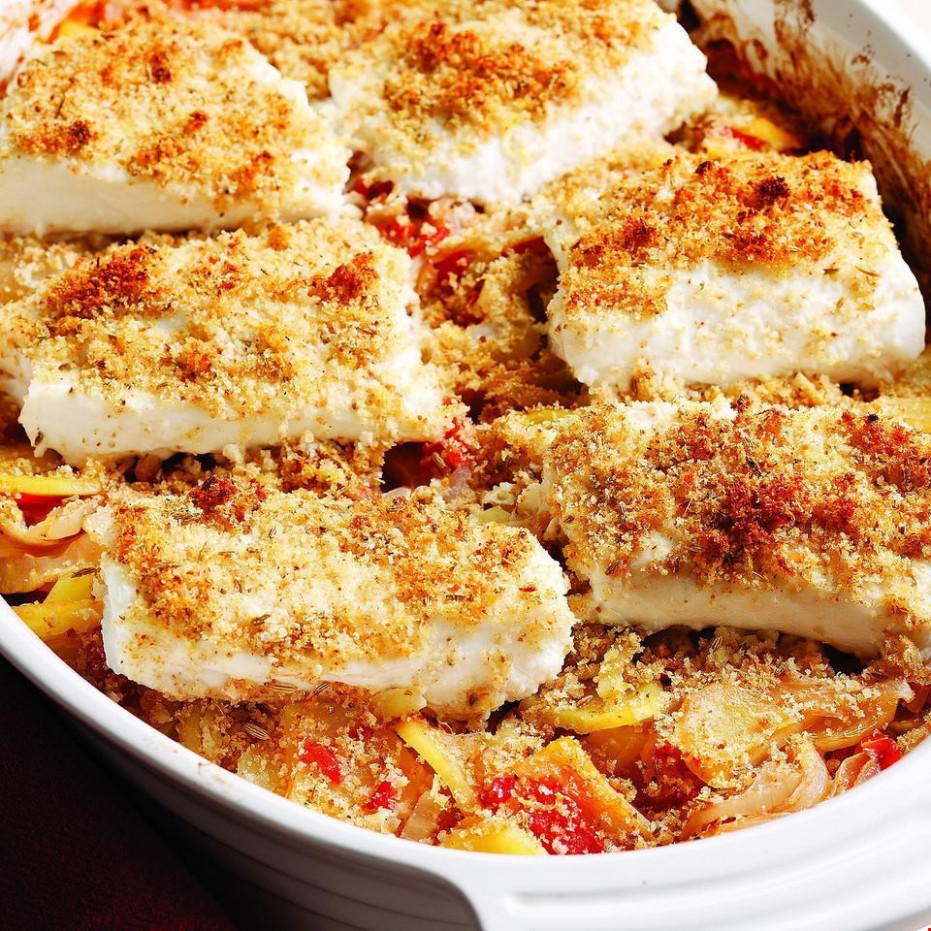 Mediterranean Roasted Fish & Vegetables Recipe - EatingWell - recipes quick dinner ideas