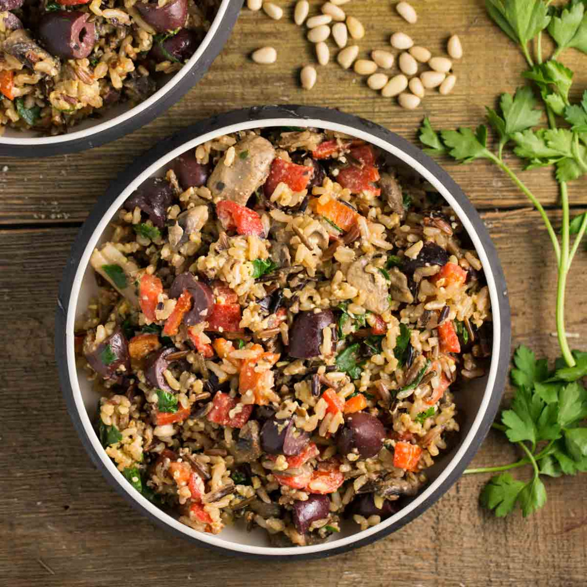 Mediterranean Wild Rice with Pine Nut Cheese - rice bowl recipes vegetarian