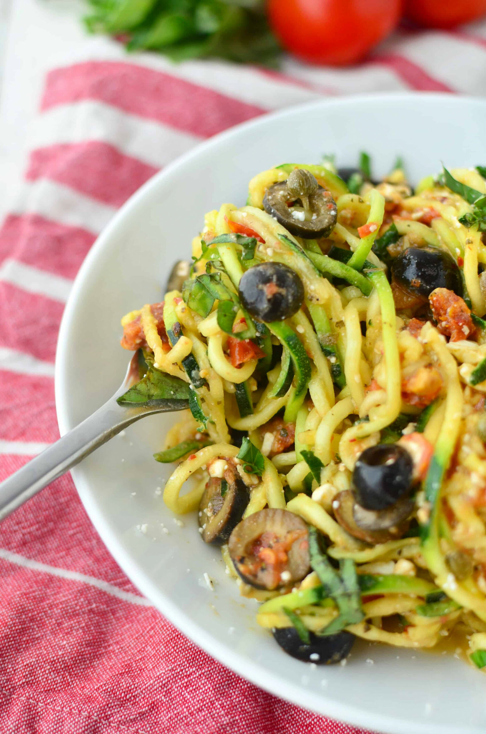 Mediterranean Zucchini Noodles - Delish Knowledge - vegetarian recipes zoodles