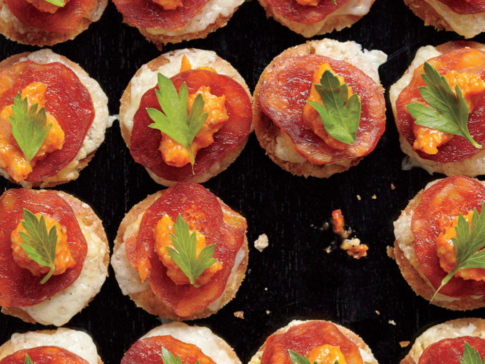 Melted Manchego Tortas with Romesco and Chorizo Recipe ..