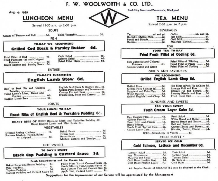 Menu from F. W. Woolworth's Restaurant (Lunch Counter) in ..