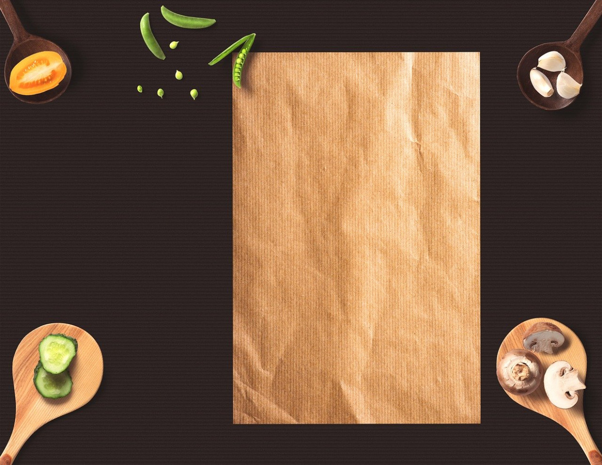 Menu, Paper, Background, Wooden Spoon - recipes to eat healthy