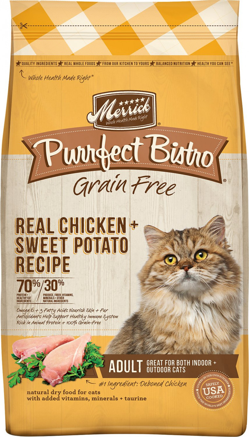 Merrick Purrfect Bistro Grain-Free Real Chicken + Sweet Potato Recipe Adult  Dry Cat Food, 13-lb bag - cat food recipes