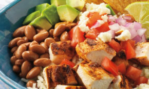 Mexican Chicken Bowl With Rice, Beans, And Queso Fresco ..