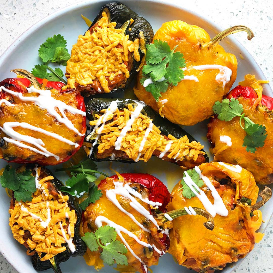Mexican Stuffed Peppers - Three Ways Vegan, Vegetarian, and Omnivore - recipes stuffed peppers vegetarian