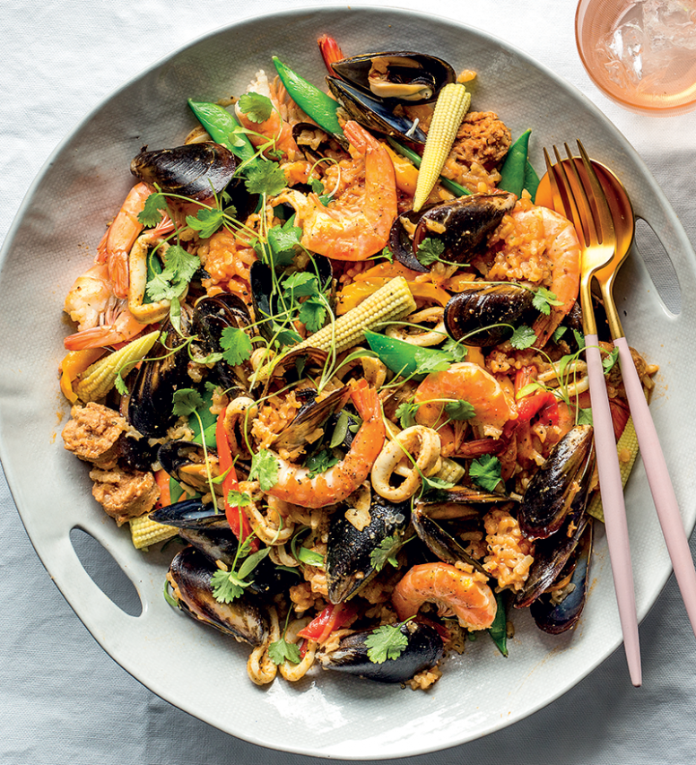 Mexican-style chorizo-and-seafood paella recipe - risotto recipes vegetarian