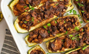 Mexican Vegetarian Stuffed Zucchini Boat Recipe | Bites Of ..