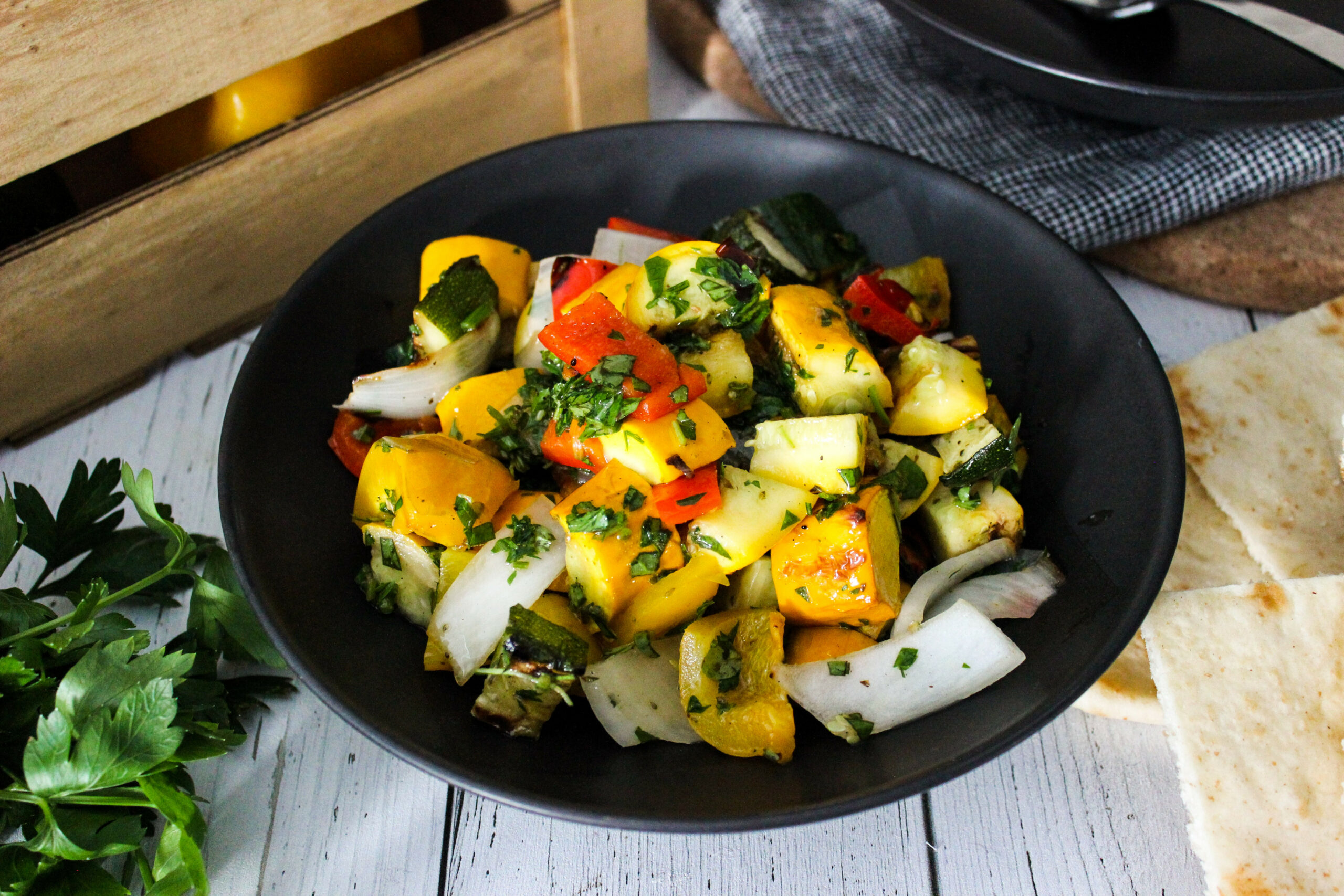 Mia Kouppa: Grilled zucchini and pepper salad - yellow pepper recipes vegetarian