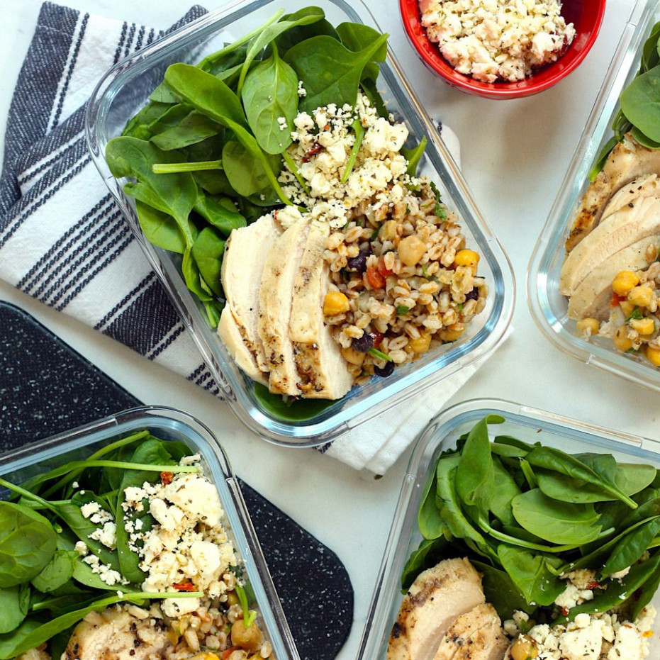 Middle Eastern Salad Bowls with Farro & Chicken - middle eastern vegetarian recipes