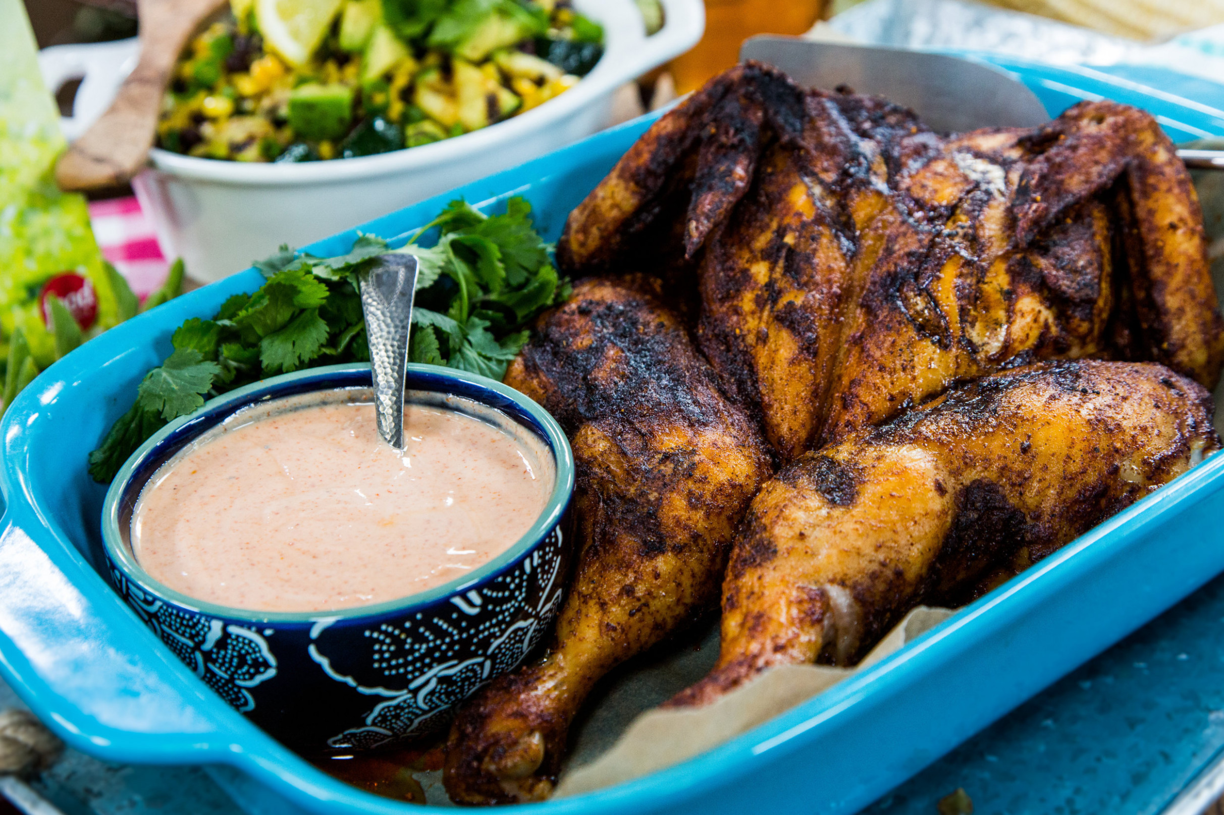 Middle Eastern Spiced Spatchcocked Chicken with Harissa Yogurt - middle eastern recipes chicken