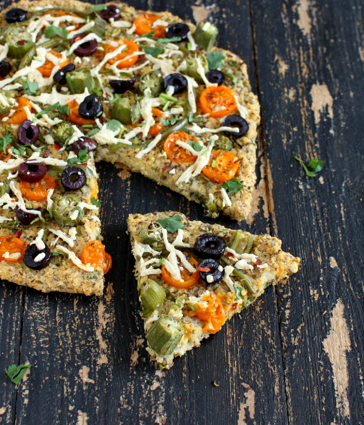 Millet Kale Chickpea Quiche Pizza topped with Okra, golden ..
