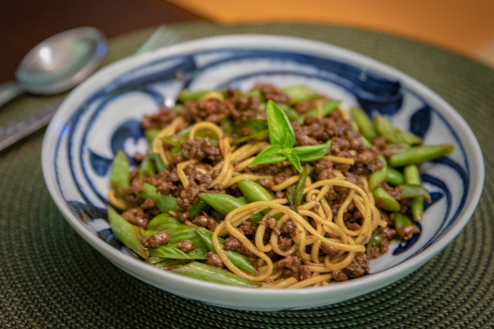 Minced Soy Lamb with String Beans and Basil Noodles - recipes lamb dinner