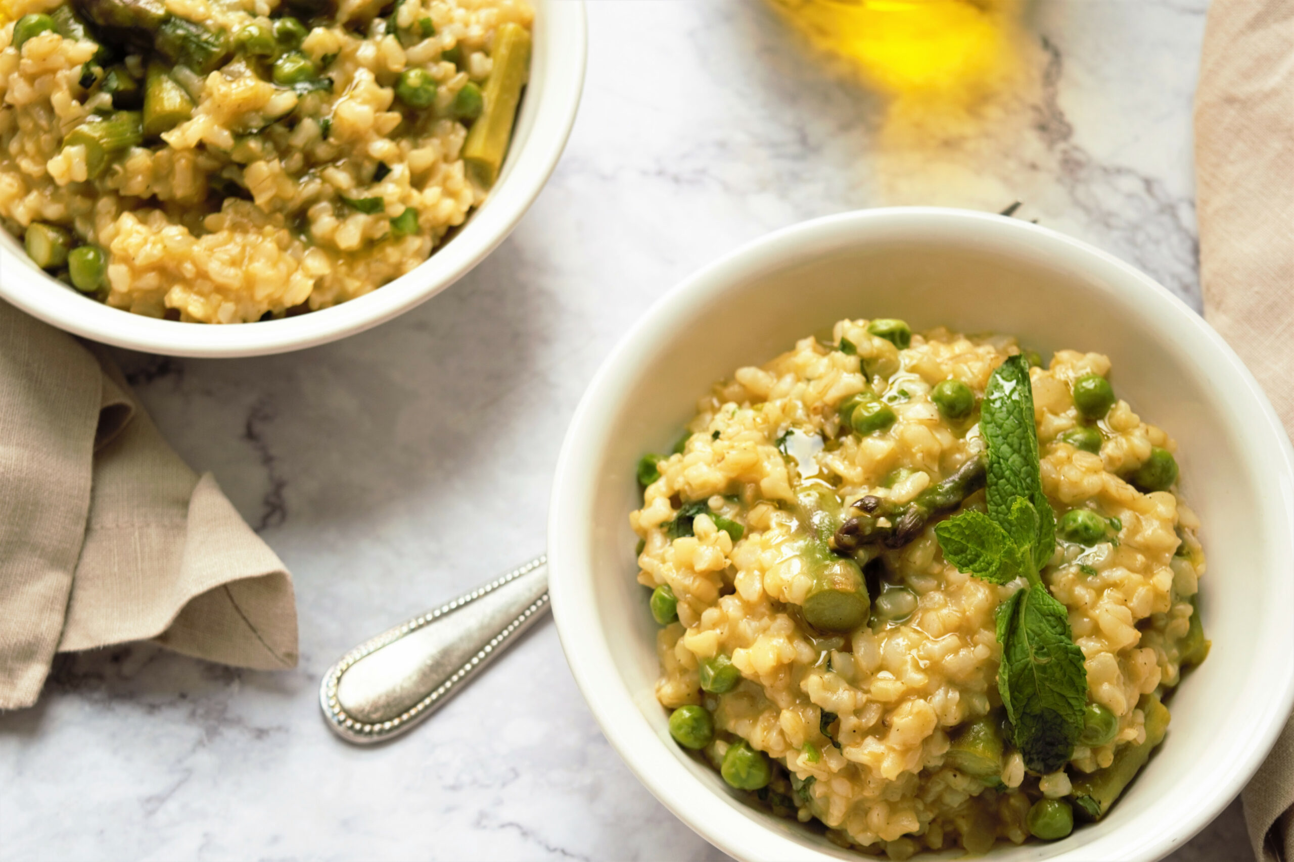 Minted Pea and Asparagus Risotto - recipe vegetarian risotto