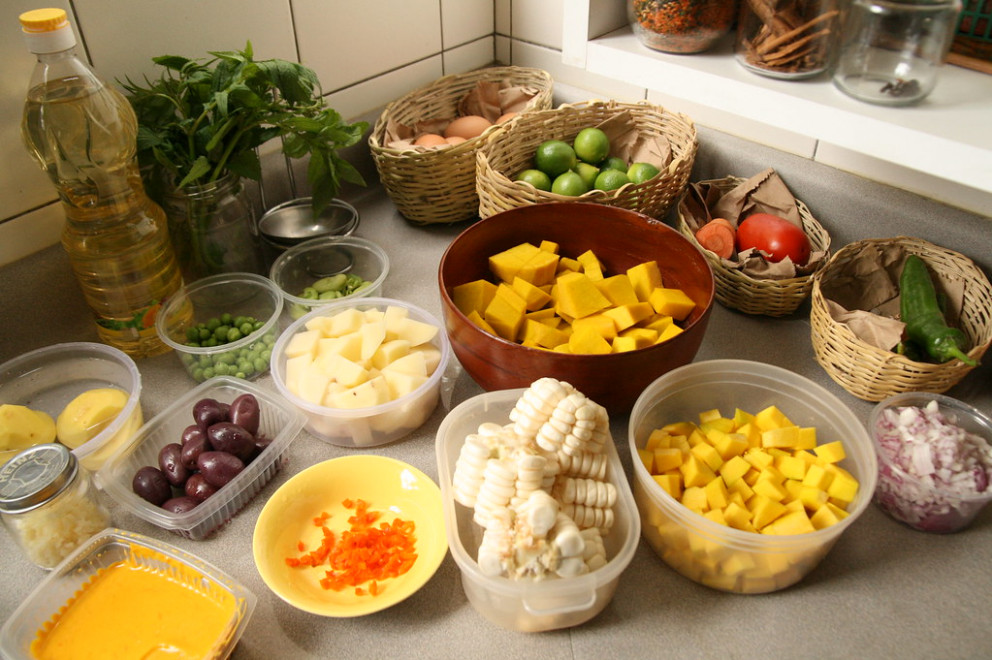 Mis en place for Peruvian Locro - recipes with ground beef healthy