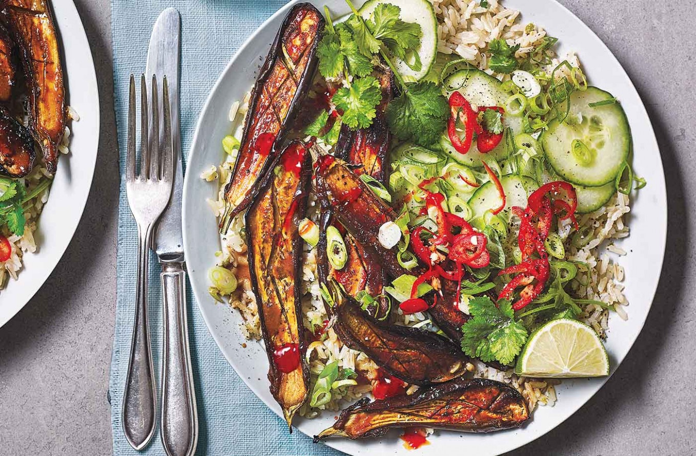Miso aubergine and brown rice bowls - vegetarian rice bowl recipes