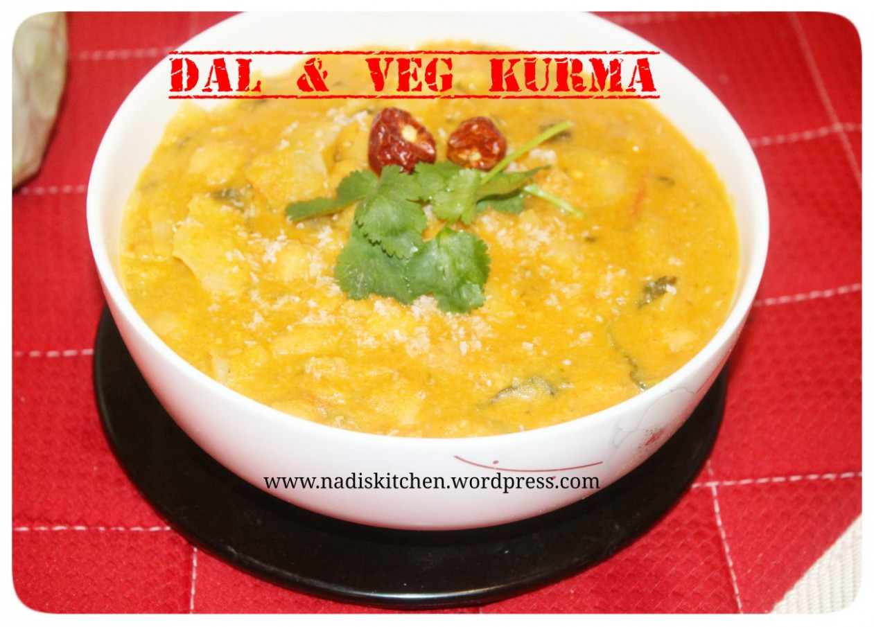 Mixed dal and Vegetable Kurma (Mixed lentils and vegetables ..