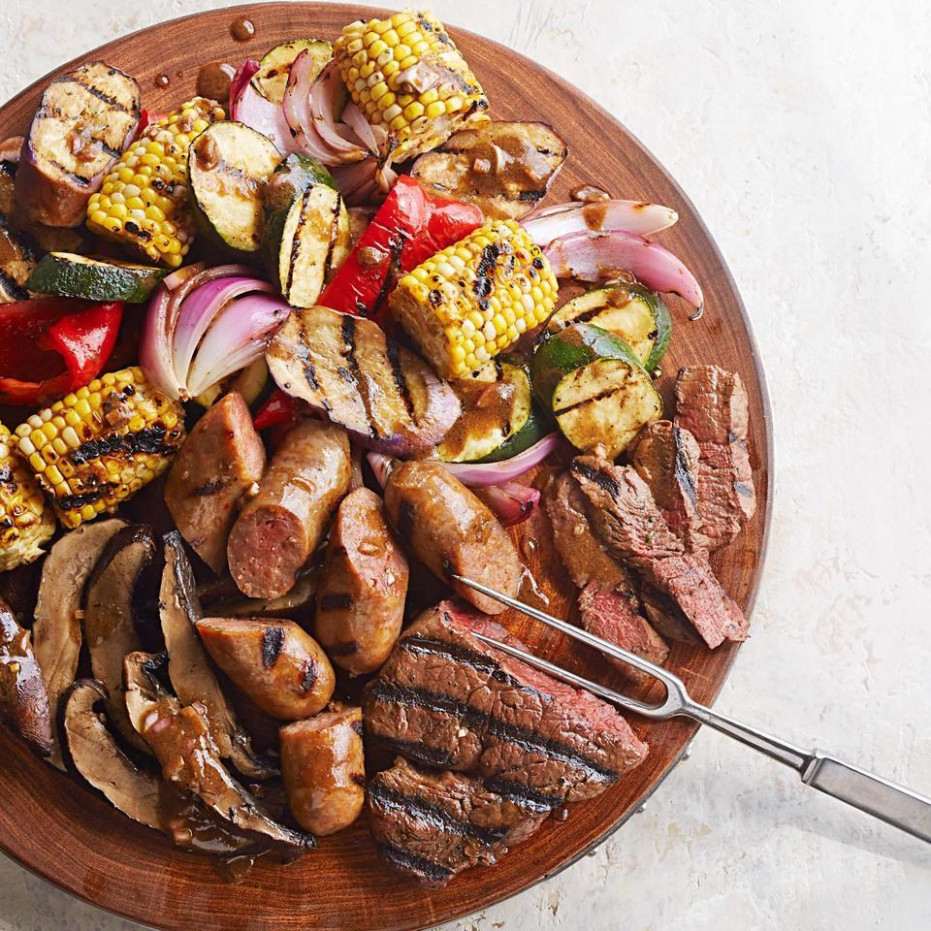 Mixed Grill with Balsamic-Mustard Vegetables Recipe ..