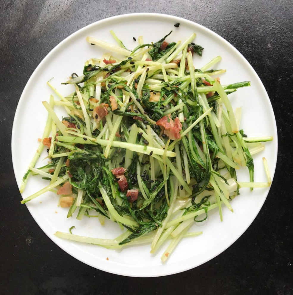 Mizuna (Japanese Mustard Greens) with Garlic and Bacon - japanese recipes vegetarian