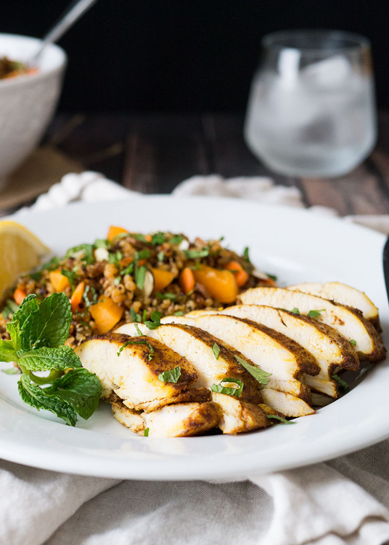 Moroccan Chicken Breast Recipe with Quinoa Salad - recipes for healthy chicken breast