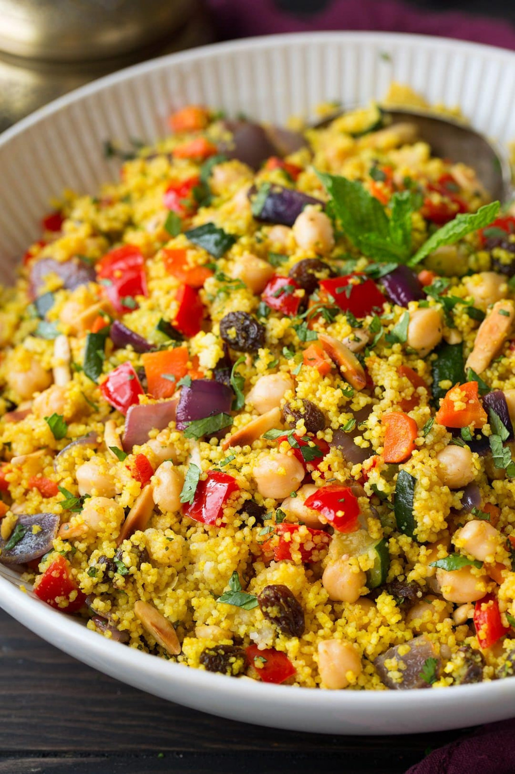 Moroccan Couscous With Roasted Vegetables, Chick Peas And Almonds - Couscous Recipes Vegetarian