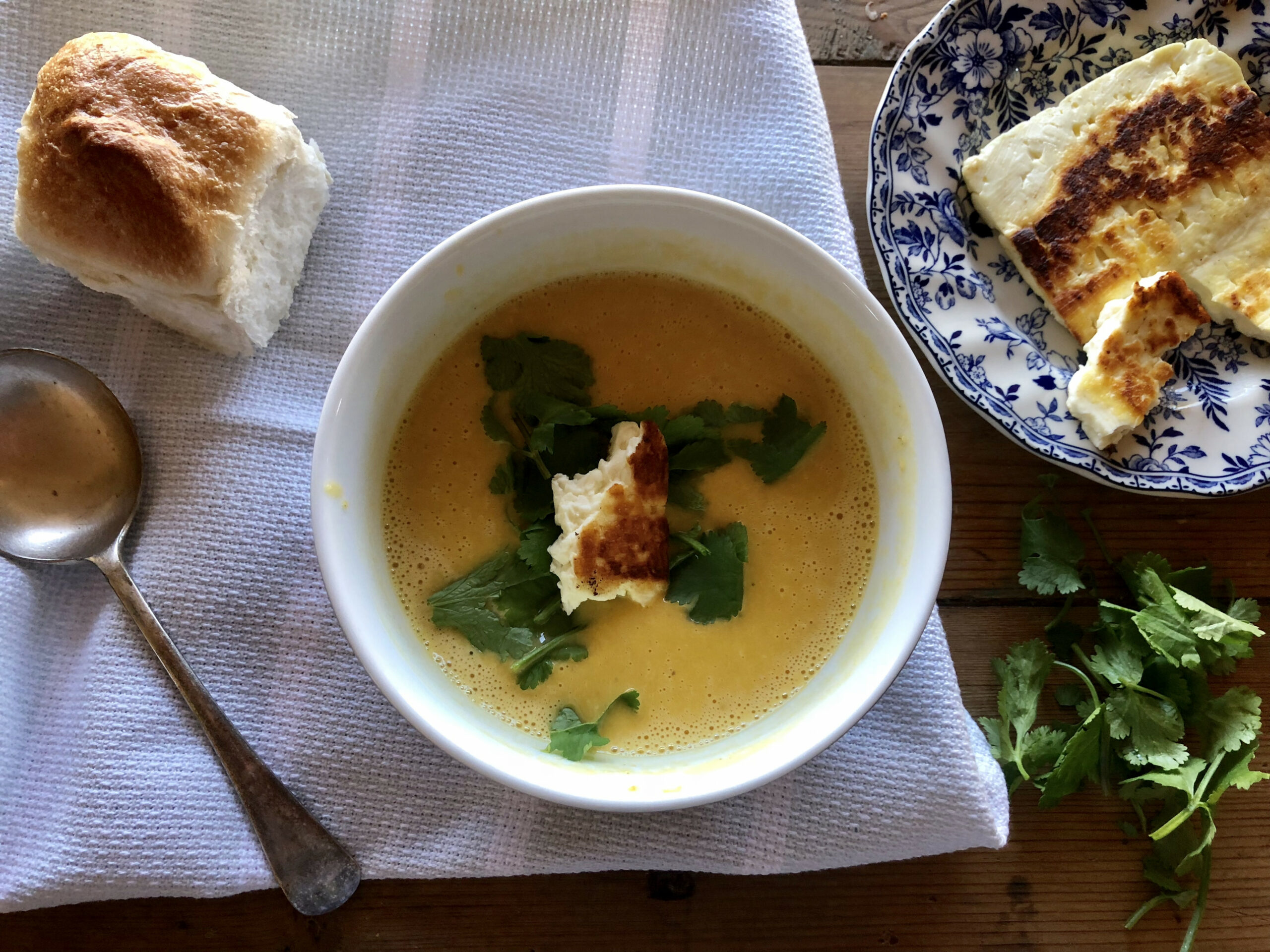 moroccan roast pumpkin soup with grilled haloumi | inspired ..