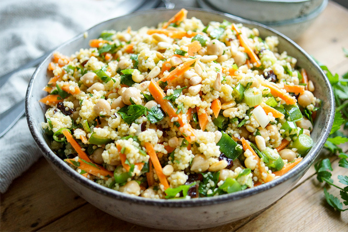 Morroccan-Style Millet Salad with Chickpeas and Carrots - millet recipes vegetarian