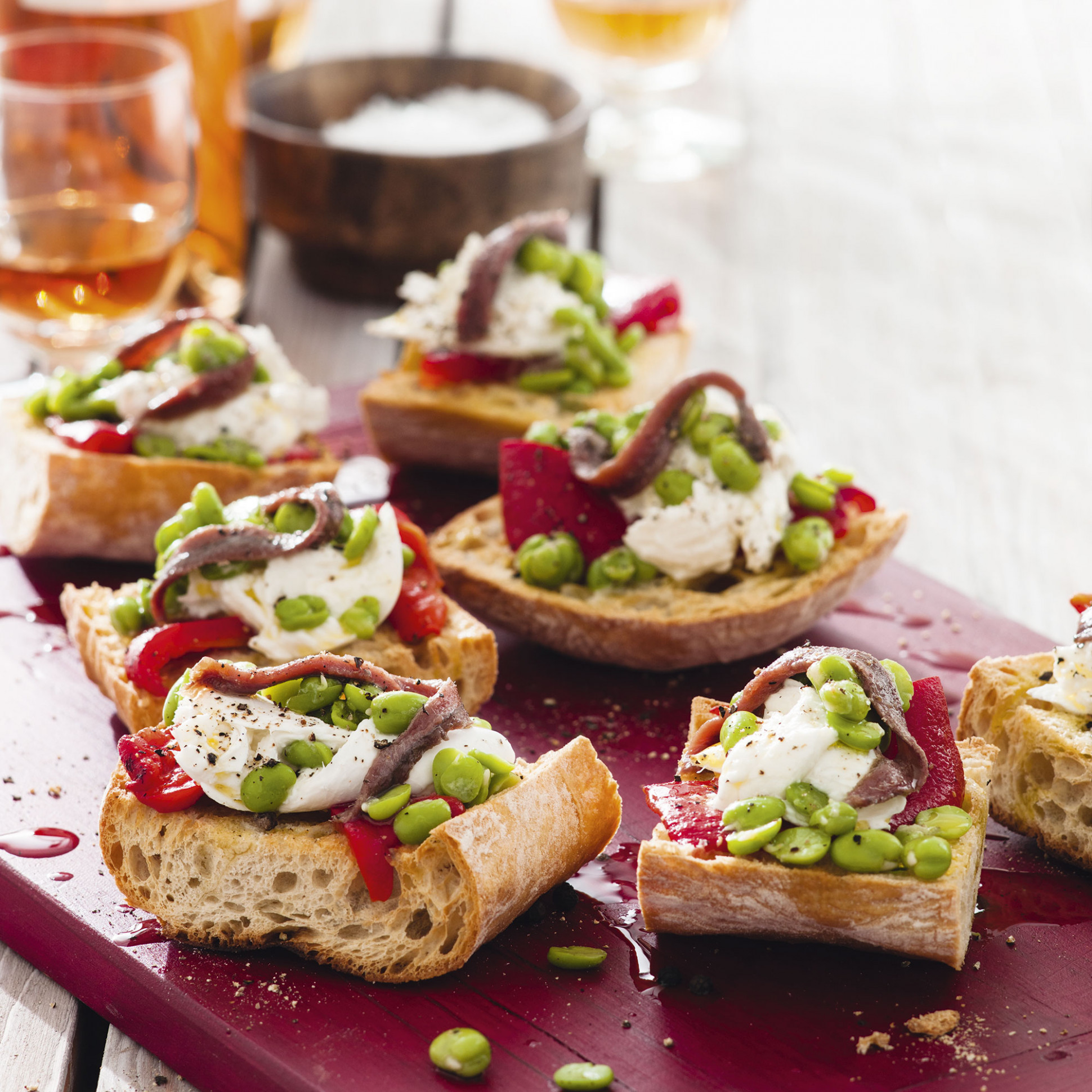 Mozzarella and Anchovy Bruschetta - recipes dinner party starters