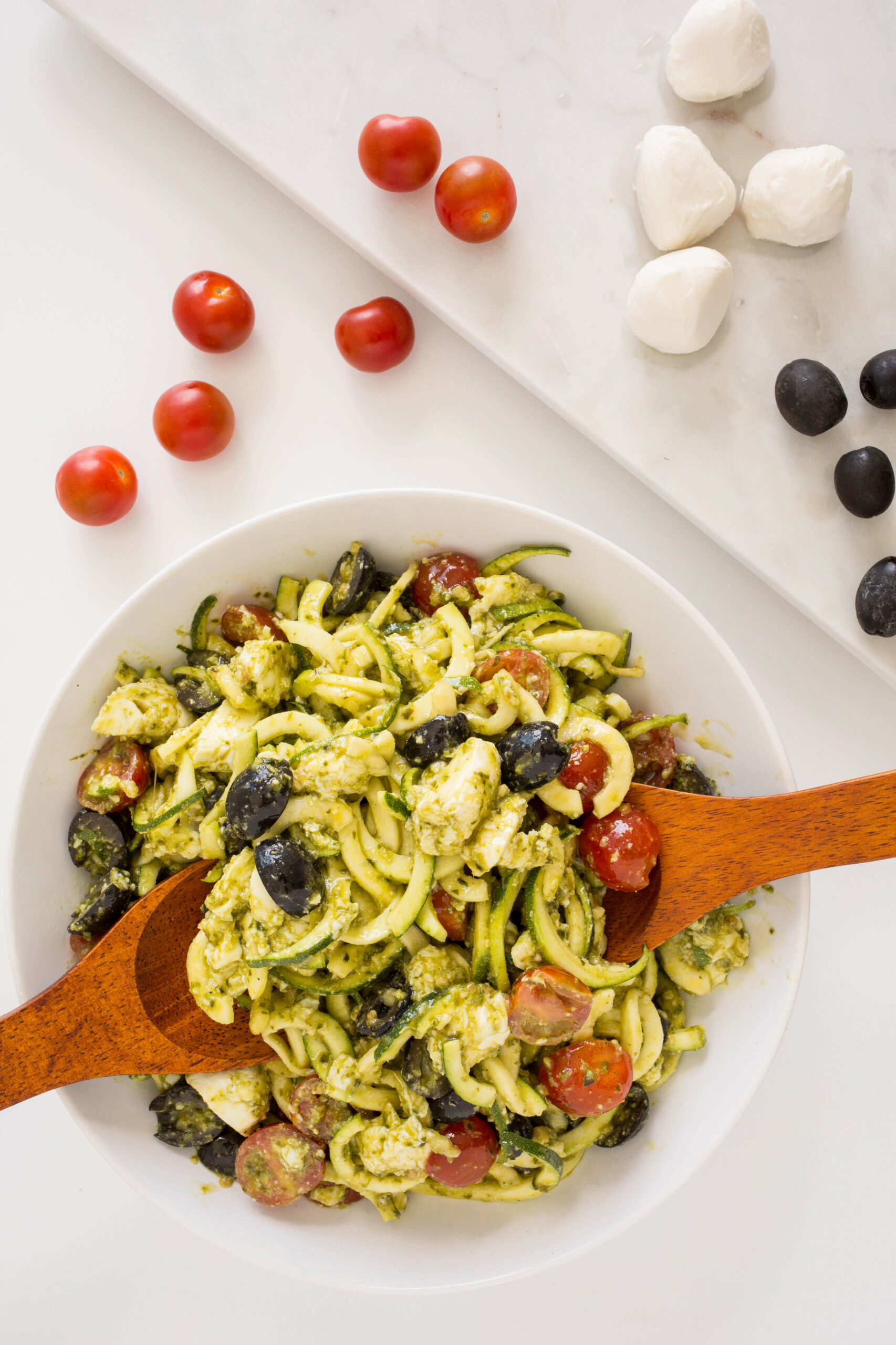 Mozzarella, Tomato and Pesto Zucchini Pasta Salad | Recipe ..