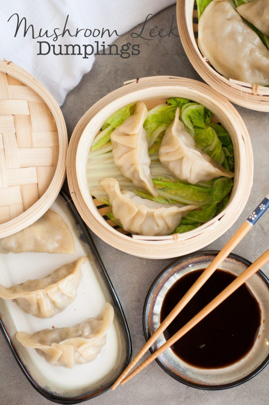 Mushroom Leek Chinese Dumplings - recipe vegetarian dumplings