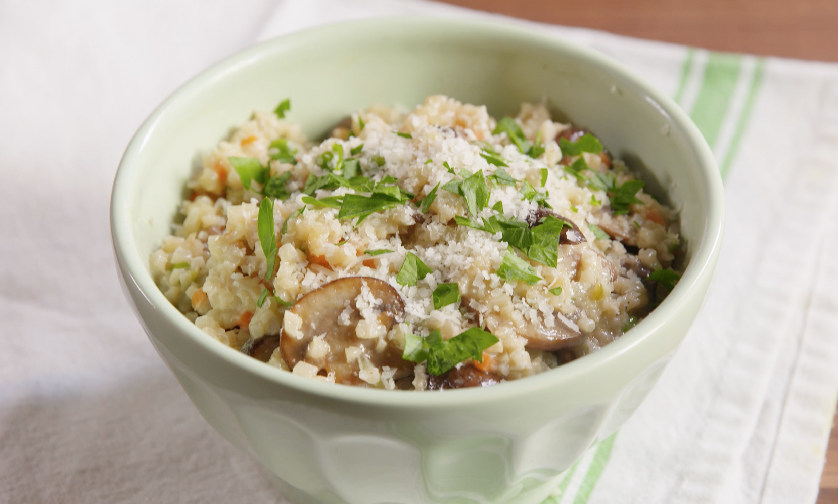 Mushroom Risotto with Riced Cauliflower Medley - recipe vegetarian risotto
