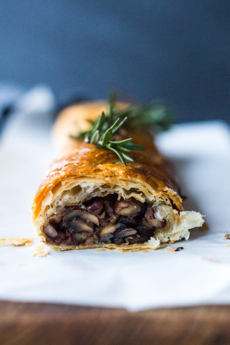 Mushroom Wellington with Rosemary and Pecans | Feasting At Home - recipe vegetarian wellington