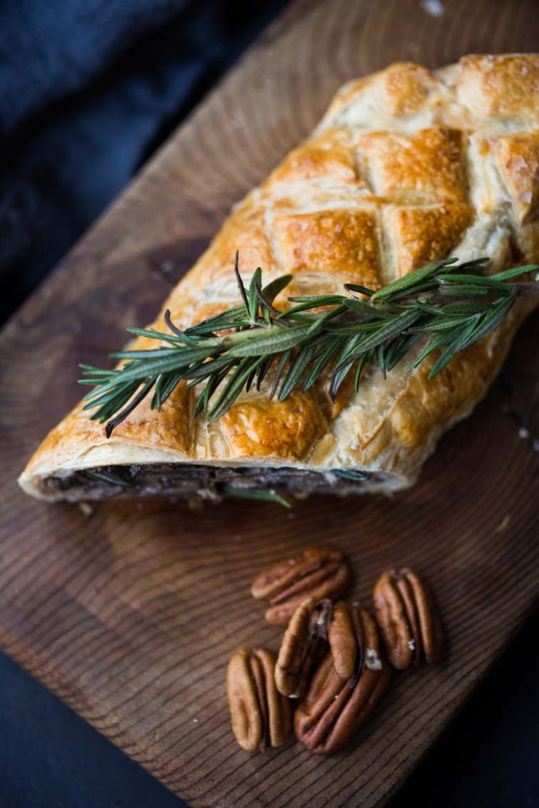 Mushroom Wellington with Rosemary and Pecans | Feasting At Home - rosemary recipes vegetarian