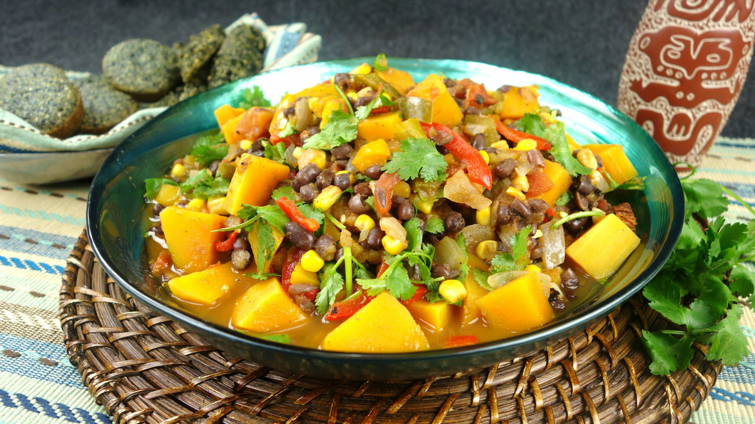 """Native American """"Three Sisters"""" Stew With Blue Corn Bread .."""