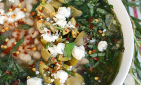 Navy Bean And Greens Soup With Feta And Olives – A Cedar Spoon – Navy Bean Recipes Vegetarian