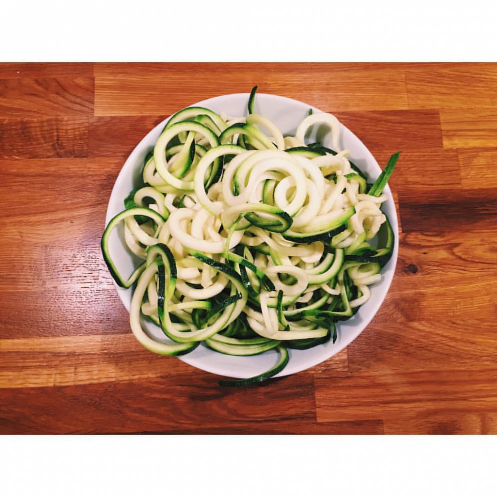 "New favorite: ""zoodles"". Zucchini noodles. Genius! Made a Kung Pao Chicken dish with these tonight. Yum.   Based it off this recipe: http://www.skinnytaste.com/2014/08/kung-pao-chicken-zoodles-for-two"