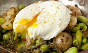New Potatoes with Bacon, Asparagus and Broad Beans