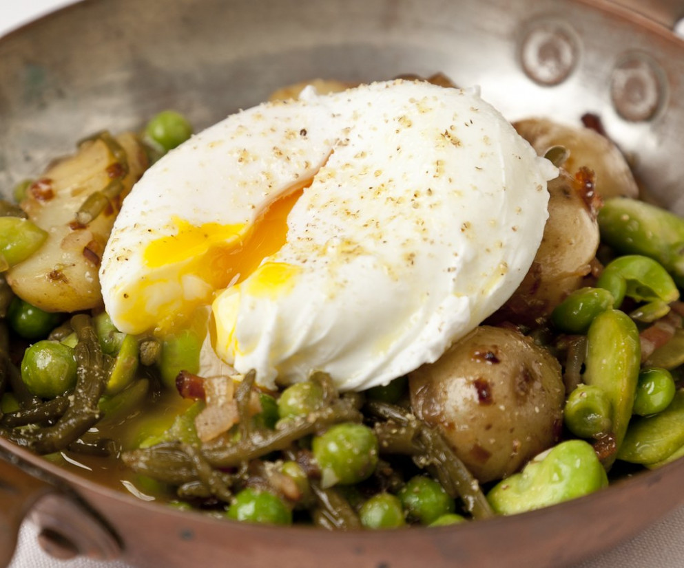 New Potatoes with Bacon, Asparagus and Broad Beans - dinner recipes bacon