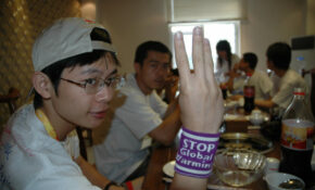 Nick – Peace Plus One And Stop GLobal Warming Wristband, In Beijing China  0561 – Healthy Recipes Kids Love